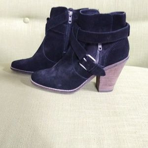 Shoes - Black Booties with side Zipper and Buckles